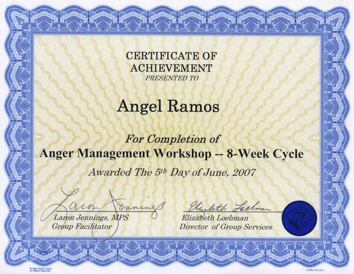 graphic regarding Printable Anger Management Certificate identified as Printable Anger Regulate Certification. Resume Illustrations For